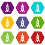 Les icônes d'exploration de Rocket ont placé 9 illustration de vecteur