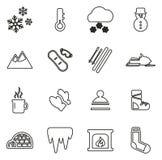Les icônes d'hiver amincissent la ligne ensemble d'illustration de vecteur illustration stock