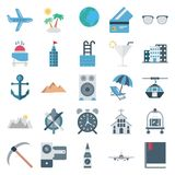 Les icônes d'isolement par vecteur de couleur de voyage et de visite consiste avec l'avion, palmier, plage, chariot à nourriture, illustration libre de droits