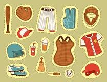 Les icônes de bande dessinée de jeu du base-ball de symbole d'équipe de jeu de compétition sportive de base-ball conçoivent l'ill Image libre de droits