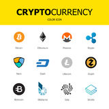 Les icônes de blockchain de Cryptocurrency ont isolé le fond blanc Devise virtuelle réglée illustration libre de droits