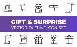 Les icônes de cadeau et de surprise placent, décrivent le style Images libres de droits