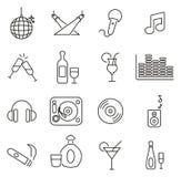 Les icônes de club de disco ou de boîte de nuit amincissent la ligne ensemble d'illustration de vecteur Photos libres de droits