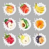 Les icônes de collection du fruit et des baies dans un lait éclaboussent ensemble du vecteur 3d illustration de vecteur