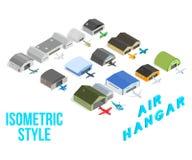 Les icônes de concept de hangar d'air ont placé, style isométrique illustration de vecteur