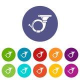 Les icônes de cornet ont placé la couleur de vecteur illustration de vecteur