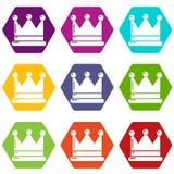 Les icônes de couronne ont placé le vecteur 9 illustration de vecteur