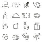 Les icônes de dîner de thanksgiving ou de vacances de famille amincissent la ligne ensemble d'illustration de vecteur Image stock