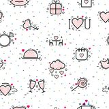 Les icônes de jour de valentines dirigent le coeur dans l'amour et le beau rouge se connectent la carte de voeux hearted de céléb Images libres de droits