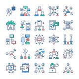 Les icônes de la publicité, de communication et de mise en réseau emballent illustration libre de droits