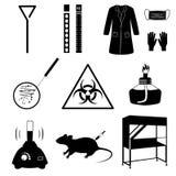 Les icônes de laboratoire de microbiologie ont placé l'illustration illustration libre de droits