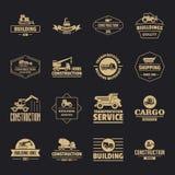 Les icônes de logo de véhicules de bâtiment ont placé, style simple illustration libre de droits