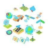 Les icônes de navigation ont placé, style isométrique du style 3d Illustration Stock