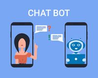 Les icônes de personnes de robot de bot de causerie téléphonent illustration de vecteur