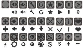Les icônes de Qualiti ont placé, les pleines icônes pac, icônes pour des apps, jeu, interface mobile, flèches, expédient de retou Images stock