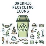 Les icônes de réutilisation organiques ont placé avec les déchets et le décharge images stock