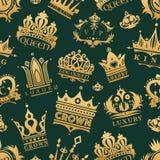 Les icônes de roi de couronne d'or ont placé le fond sans couture de modèle d'illustration de vecteur de signe de bijoux de vinta illustration libre de droits