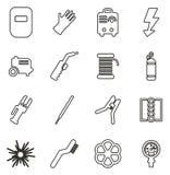 Les icônes de soudure amincissent la ligne ensemble d'illustration de vecteur illustration stock