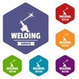 Les icônes de soudure d'atelier dirigent le hexahedron illustration libre de droits