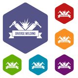 Les icônes de soudure d'outil dirigent le hexahedron illustration stock