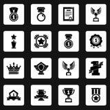 Les icônes de tasses de médailles de récompenses ont placé, style simple Image stock