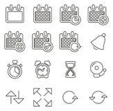 Les icônes de temps et de programme amincissent la ligne ensemble d'illustration de vecteur illustration stock