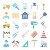 Les icônes de vecteur d'isolement par construction réglées consistent camion, mineur, mur, outils, barrière, cône, trafic, bâtime illustration stock
