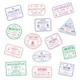 Les icônes de vecteur du monde de timbres de passeport de ville voyagent Photo libre de droits