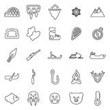 Les icônes esquimaudes de culture et d'équipement amincissent la ligne ensemble d'illustration de vecteur Photos stock