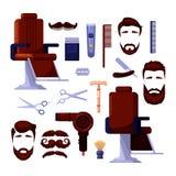 Les icônes et le vecteur du salon des hommes de raseur-coiffeur conçoivent des éléments Outils et équipement de vintage de coiffe illustration de vecteur