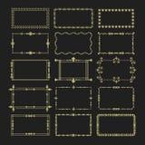 Les icônes florales d'or d'emblème de cadres de rectangle ont placé sur le fond noir Photos stock