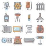 Les icônes fraîches d'outils de circulation d'air de la chaleur ont placé, style de bande dessinée Photos libres de droits