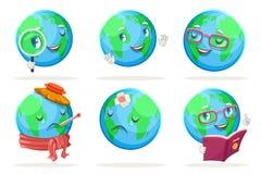 Les icônes heureuses de caractères de globe de la terre de nature d'émotion d'écologie ont placé l'illustration d'isolement de ve illustration libre de droits