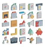 Les icônes isométriques de base de RVB Real Estate emballent qui peuvent facilement modifier ou éditer illustration de vecteur