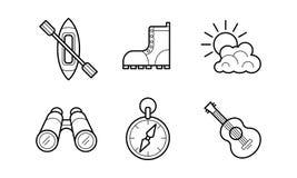 Les icônes linéaires de hausse et campantes ont placé, la récréation, illustration de vecteur de symboles d'activités en plein ai illustration de vecteur