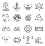 Les icônes nautiques de navire et d'équipement amincissent la ligne ensemble d'illustration de vecteur Images libres de droits