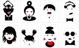 Les icônes noires et blanches réglées de la fille de garçon de caractères équipent la femme Images libres de droits