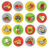 Les icônes ont placé des repas faits maison de nourriture et de restaurant illustration stock