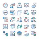 Les ic?nes plates d'Analytics et d'investissement emballent illustration de vecteur