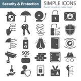 Les icônes simples de protection et sécurité ont placé pour le Web et la conception mobile Image libre de droits