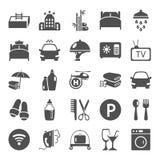 Les icônes simples de service hôtelier ont placé pour le Web et la conception mobile Image stock