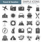 Les icônes simples de voyage et de vacances ont placé pour le Web et la conception mobile Photo libre de droits