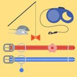 Les icônes animales de vecteur mignon accessoire coloré de chat choient l'illustration féline domestique de nourriture d'équipeme illustration de vecteur