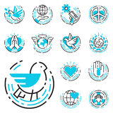 Les icônes bleues d'ensemble de paix aiment l'illustration gratuite de vecteur de symboles d'espoir de soin d'international de li illustration libre de droits