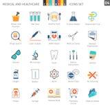 Les icônes colorées médicales ont placé 04 illustration de vecteur