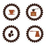 Les icônes décoratives de boissons plates de collection de café dirigent l'illustratio Photo stock