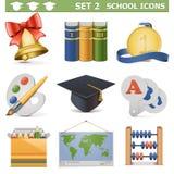 Les icônes d'école de vecteur ont placé 2 Illustration de Vecteur