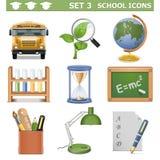Les icônes d'école de vecteur ont placé 3 Illustration de Vecteur