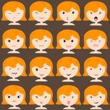 Les icônes d'émoticône ont placé de la fille mignonne avec de diverses émotions, emoji, massage facial, sentiment, humeur, person Images libres de droits