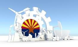 Les icônes d'énergie et de puissance ont placé avec le drapeau de l'Arizona Photographie stock